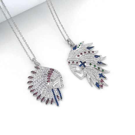Indian New Adjustable Necklace Fashion Colorful Feather Pendant Joker Sweater Chain wholesale fashion  NHLJ178007's discount tags