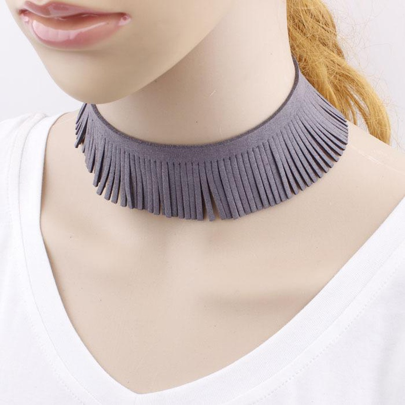 Fashion jewelry simple personality deer suede necklace exaggerated wool tassel bunch necklace wholesale fashion  NHIM178031