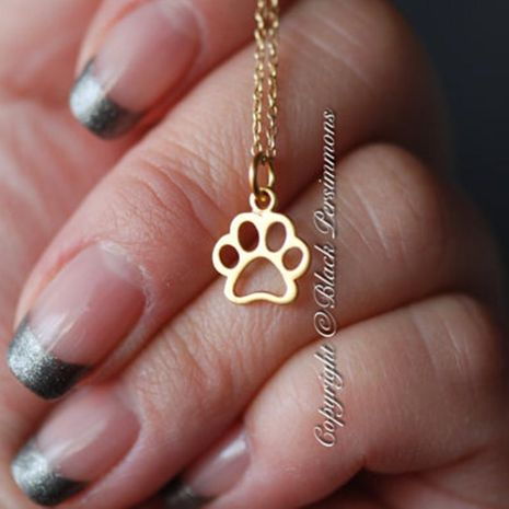 Hollow cat claw dog claw necklace animal footprints necklace cat claw foot necklace clavicle chain wholesale trend NHCU178315's discount tags