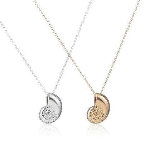 Pure Handmade Color Plating Alloy Pendant Copper Chain Conch Necklace Snail Shell Pendant Necklace Wholesale NHCU178318's discount tags