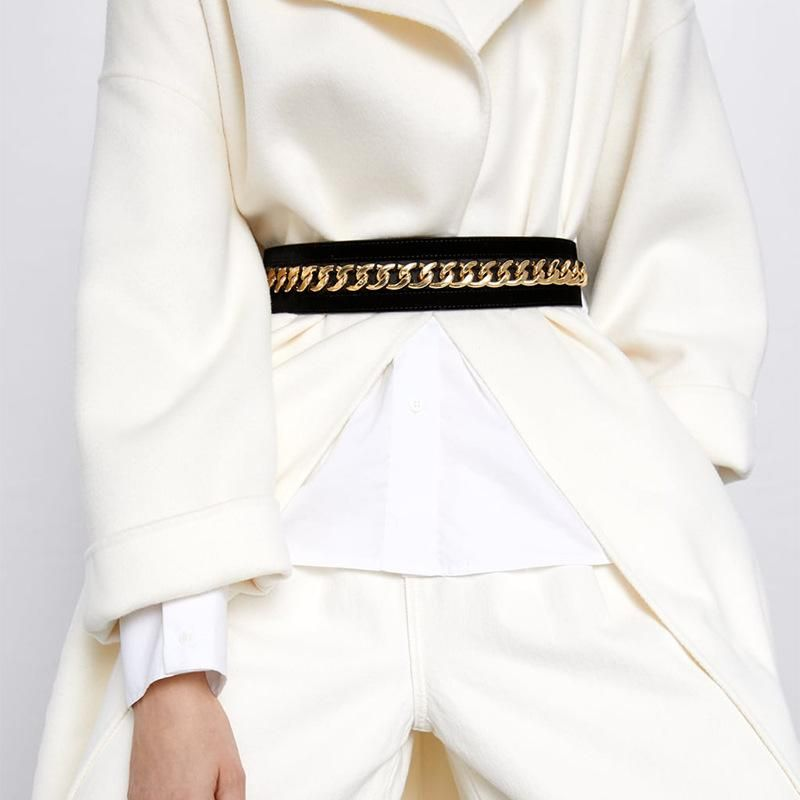 Flannel alloy chain belt fashion elastic waist chain wild casual belt autumn and winter NHJQ178324