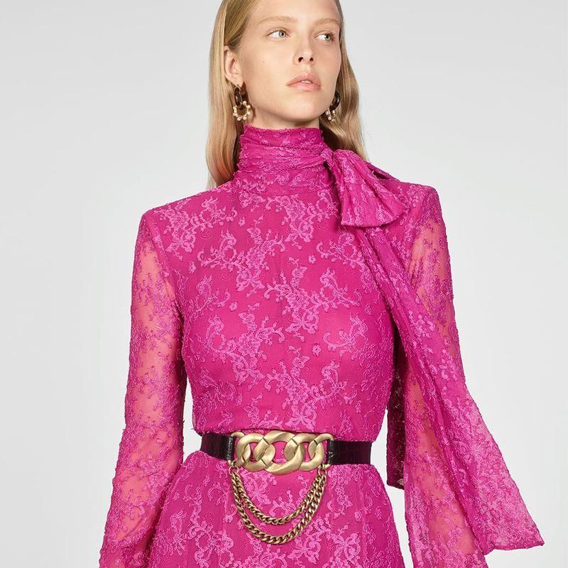 Alloy chain leather belt fashion cool belt retro British wind waist chain NHJQ178325