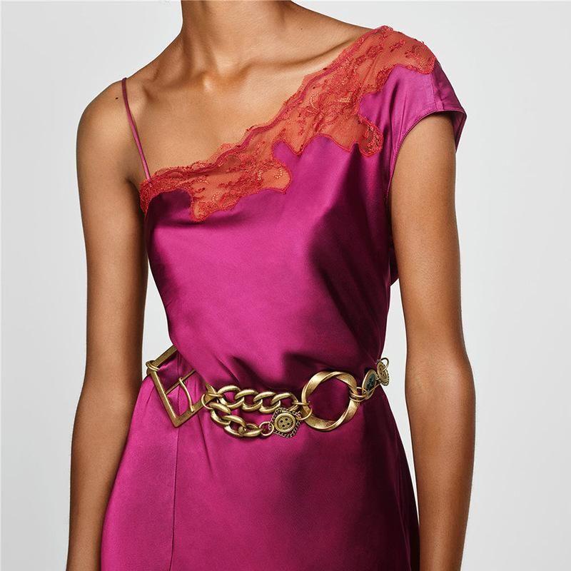 Alloy leather belt fashion retro hip hop waist chain simple wild belt NHJQ178326