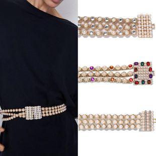 Alloy pearl rhinestone belt temperament metal waist chain belt creative jewelry accessories NHJQ178327's discount tags