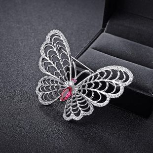 Butterfly dance Korean fashion high-end diamond red crystal butterfly brooch NHLJ177996's discount tags