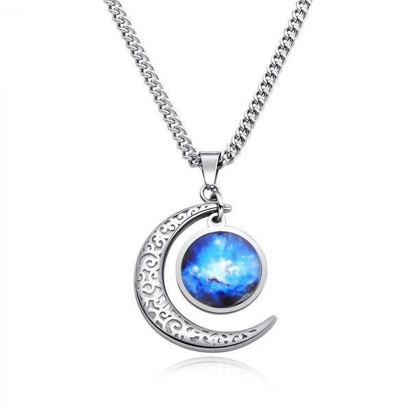 Star Moon Moonlight Stone Pendant Retro Fashion Titanium Steel NHOP178151
