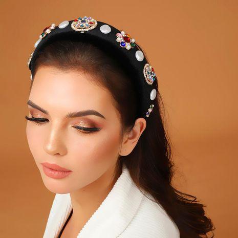 Jewelled headband Thick Sponge Headband Baroque Pearl Diamond Vintage Textured Hair Accessories Wholesale Fashion NHMD178337's discount tags