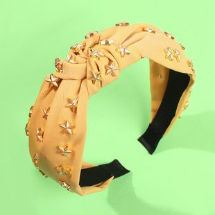 Wide-brimmed knotted headband fashion five-pointed star rivet solid color fabric headband NHMD178340's discount tags