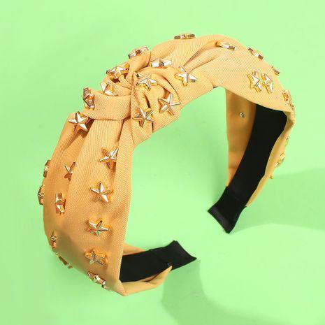 Diadema anudada de ala ancha moda diadema de tela de color sólido con remache de estrella de cinco puntas NHMD178340's discount tags