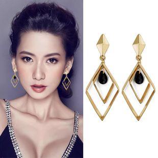 Aretes para mujer geométricos pendientes largos de diamantes de moda temperamento creativo joyería de oreja de diosa al por mayor NHDP178235's discount tags