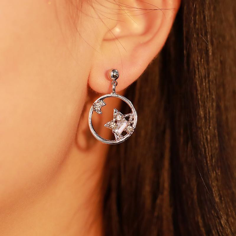 Earrings, personality, wild stars, moon earrings, delicate asymmetrical stars, earrings wholesale fashion NHDP178236