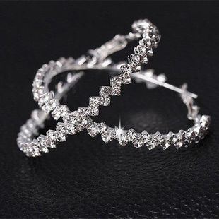 Exaggerated large crystal earrings ring set with rhinestones flash drill wave earrings female pair wholesale fashion NHIM178071's discount tags