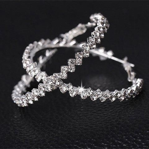 Exaggerated large crystal earrings ring set with rhinestones flash drill wave earrings female pair wholesale fashion NHIM178071