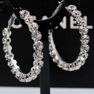 Oversized rhinestone exaggerated large circle ear ring NHIM178073's discount tags