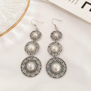 Vintage ethnic style three-layer pearl ring hat earrings tassel gemstone earrings wholasale fashion NHDP178275's discount tags