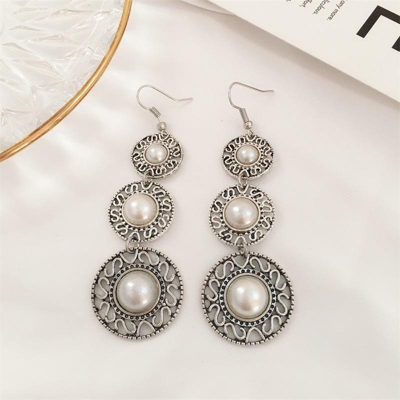 Vintage ethnic style three-layer pearl ring hat earrings tassel gemstone earrings wholasale fashion NHDP178275