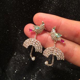 S925 Silver Needle Umbrella Bird Earrings Pendientes Super Flash de circón microincrustados de lujo dulce y encantador NHWK178196's discount tags