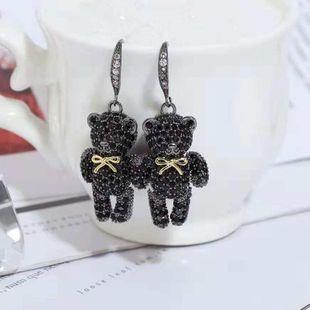 Pendientes creativos de niña dulce y oso lindo Pendientes de lujo con micro incrustaciones de circonio de alta calidad NHWK178199's discount tags