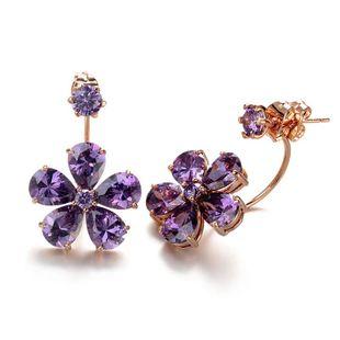 Korean fashion high-grade purple AAA zircon flower earrings NHLJ178004's discount tags