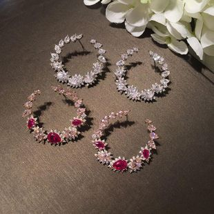 S925 aguja de plata de lujo con micro incrustaciones de circón gota pendientes de flores círculo NHWK178201's discount tags