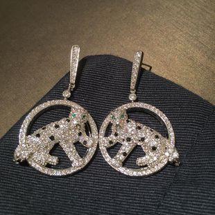 S925 aguja de plata creativa animal leopardo círculo pendientes micro incrustaciones pendientes de circón NHWK178202's discount tags
