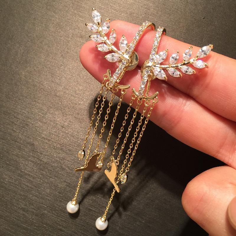 S925 silver needle wheat earrings long fringed seagull front and rear dual-use earrings super fairy creative sweet earrings NHWK178204