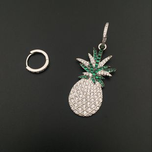 Creative summer small pineapple asymmetrical small pineapple earrings earrings micro-inlaid zircon green ear NHWK178212's discount tags