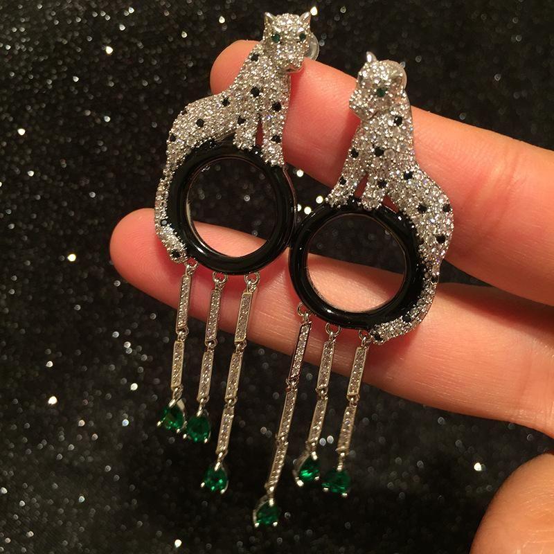 Leopard Circle Tassel Earrings Long Domineering Luxury Elegant Big Earrings S925 Silver Needle wholesale fashion NHWK178217