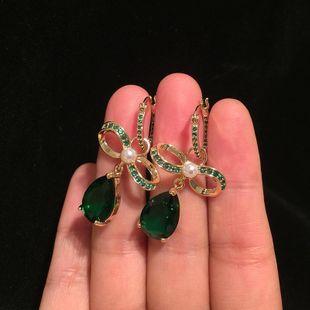 Aretes par mujer colgantes de esmeralda con lazo de lujo pendientes de circonita con incrustaciones con textura dulce y elegante NHWK178222's discount tags