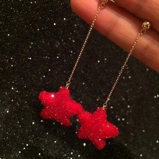 Pendientes de estrella de cinco puntas rojos súper brillantes con diamantes completos borla larga amor corazones rojos pendientes de estrellas S925 plata NHWK178224's discount tags