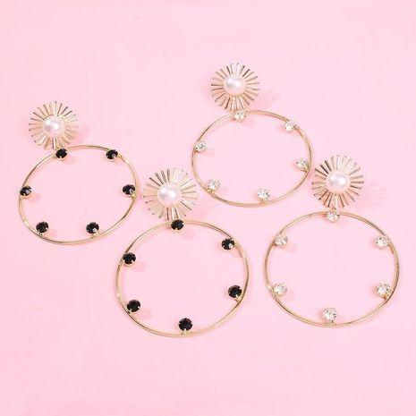 Jewelry Pearl Circle Stud Earrings Fashion Personality Sun Flower Earrings Earrings NHMD178335's discount tags