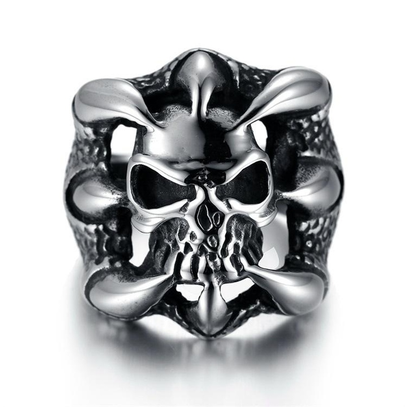 Death Squad 3 Stallone with Domineering Men's Ring Genuine Titanium Steel Eagle Claw Taro Personality Men's Ring NHIM178035