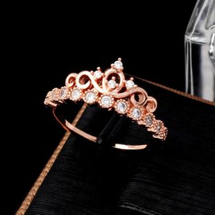 Korean version of the best selling zircon crown ring alloy jewelry eight hearts and eight arrows zircon ring wholesale NHIM178056's discount tags