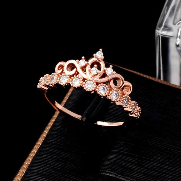 Korean version of the best selling zircon crown ring alloy jewelry eight hearts and eight arrows zircon ring wholesale NHIM178056