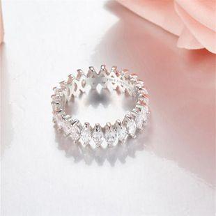 Micro-inlaid zircon crystal diamond rhombus irregular narrow-edge ring NHIM178058's discount tags