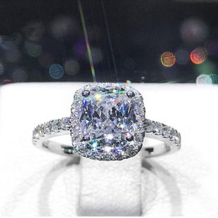 Pillow-shaped princess sterling silver simple light luxury 2 1 carat simulation diamond wedding ring ring NHIM178070's discount tags