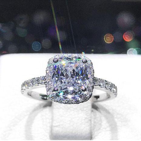 En forme d'oreiller princesse en argent sterling simple lumière de luxe 2 1 carat simulation diamant bague de mariage bague NHIM178070's discount tags