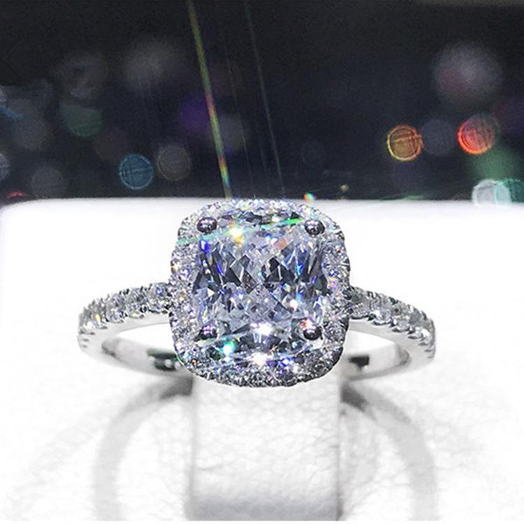 Pillow-shaped princess sterling silver simple light luxury 2 1 carat simulation diamond wedding ring ring NHIM178070