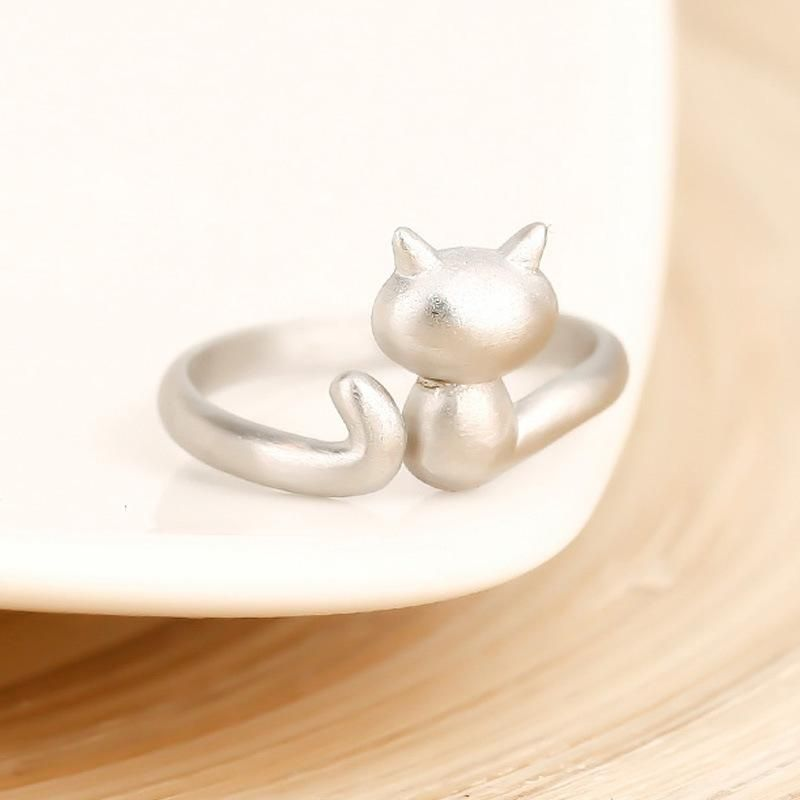 Fashion Joker Adjustable Cute Animal Glossy Kitten Cat Opening Ring NHCU178299