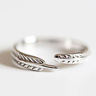 Anillo de plumas de diseño original hecho a mano vintage modelos femeninos accesorios de anillo de articulaciones de dedo abierto al por mayor NHCU178302's discount tags