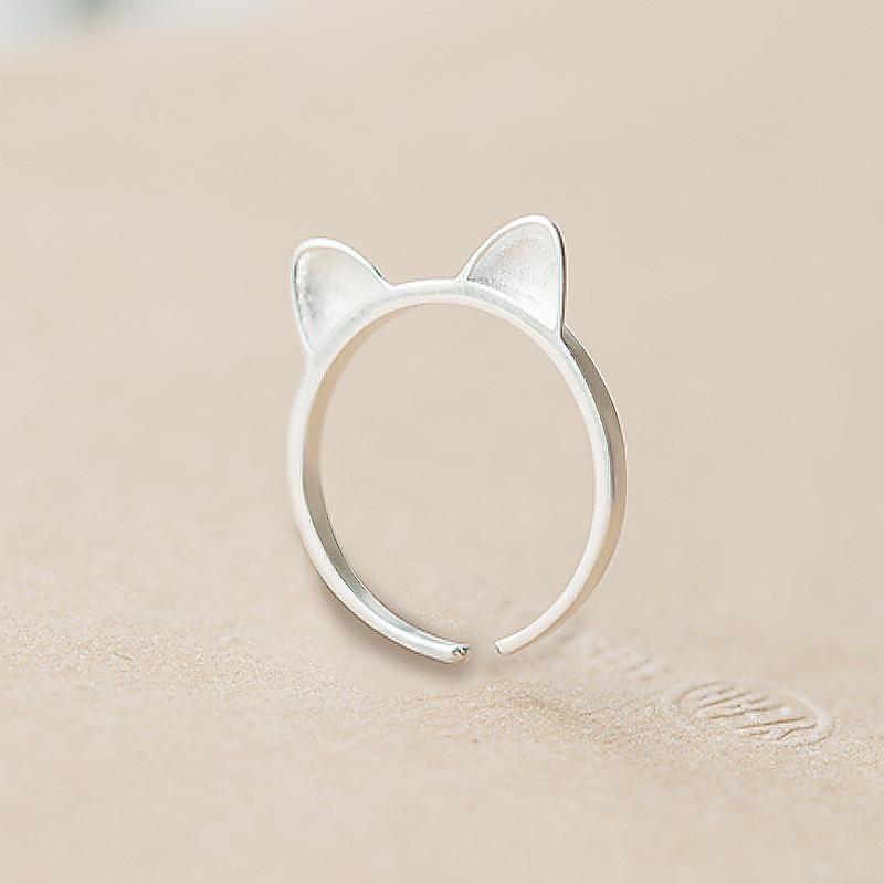 Cute Animal Cat Cat Ear Ring Female Opening Adjustable Creative Sweet Ring Wholesale NHCU178305