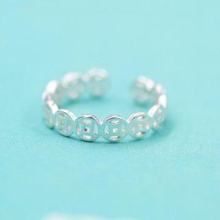 Platino plata esterlina retro creativo brillante hueco moneda de cobre anillo NHCU178307's discount tags