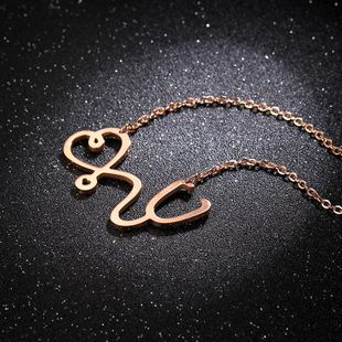 Korean short exquisite clavicle chain titanium steel personality doctor necklace NHIM178018's discount tags