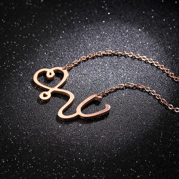 Korean short exquisite clavicle chain titanium steel personality doctor necklace NHIM178018