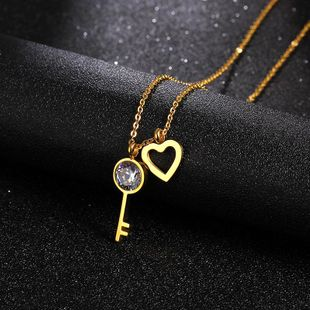 Titanium steel heart-shaped key clavicle chain AAA zircon stainless steel necklace NHIM178019's discount tags