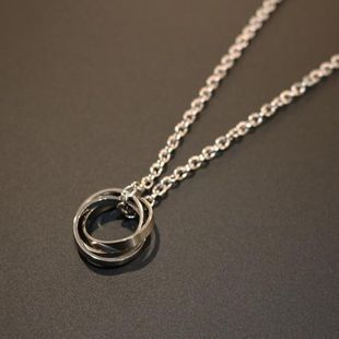 Designer Tide brand THINCKER steel ring three ring ring pendant necklace NHIM178024's discount tags