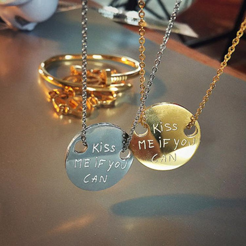Korean fashion simple design Kiss me if you can the same titanium steel necklace NHIM178026