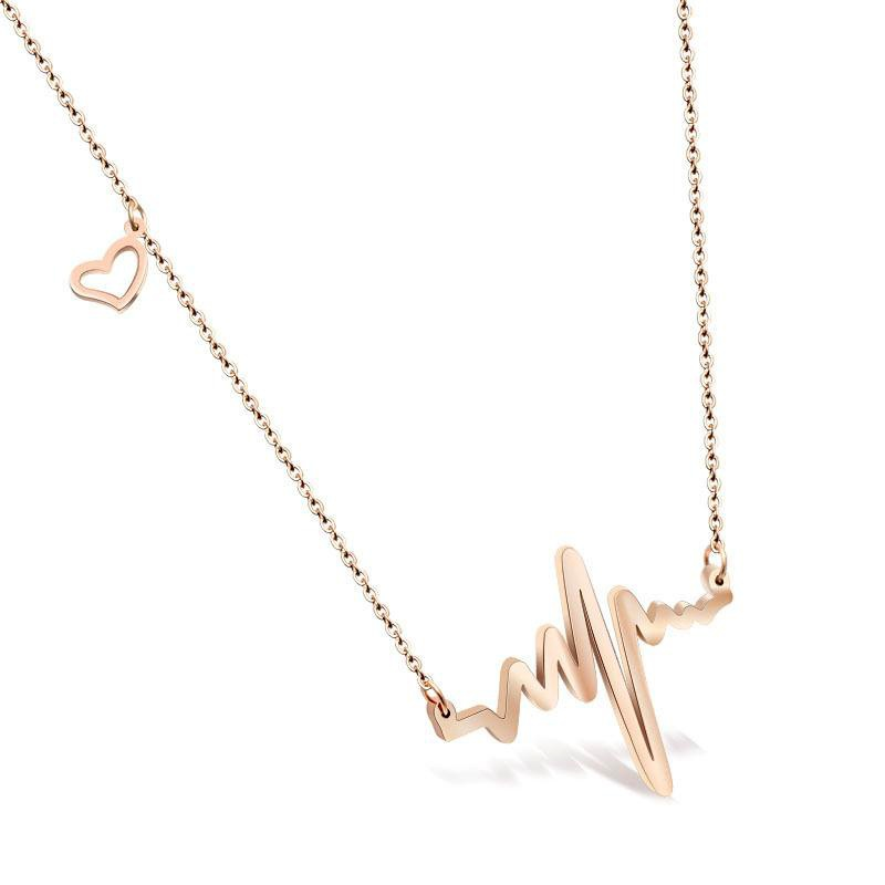 Korean fashion heartbeat ECG rose gold titanium steel clavicle chain simple short temperament necklace NHIM178032