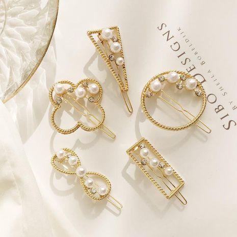Pearl eight-character triangle sweet Liu Hai hair accessories NHDP178287's discount tags