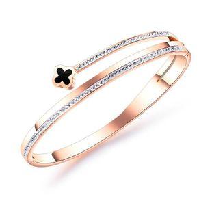 Rose gold-plated titanium steel bracelet lucky grass diamond bracelet NHOP178176's discount tags